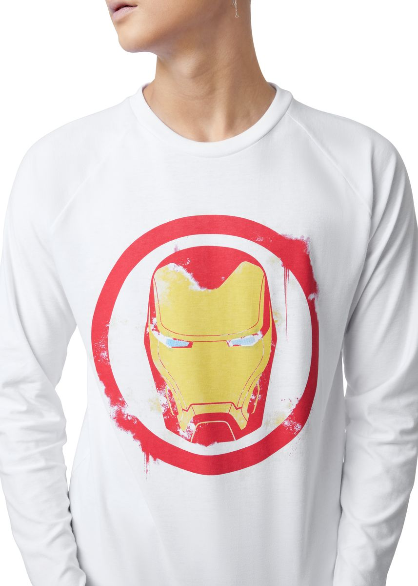 White color T-Shirts and Polos . Official Iron Man Long Sleeve Shirt -