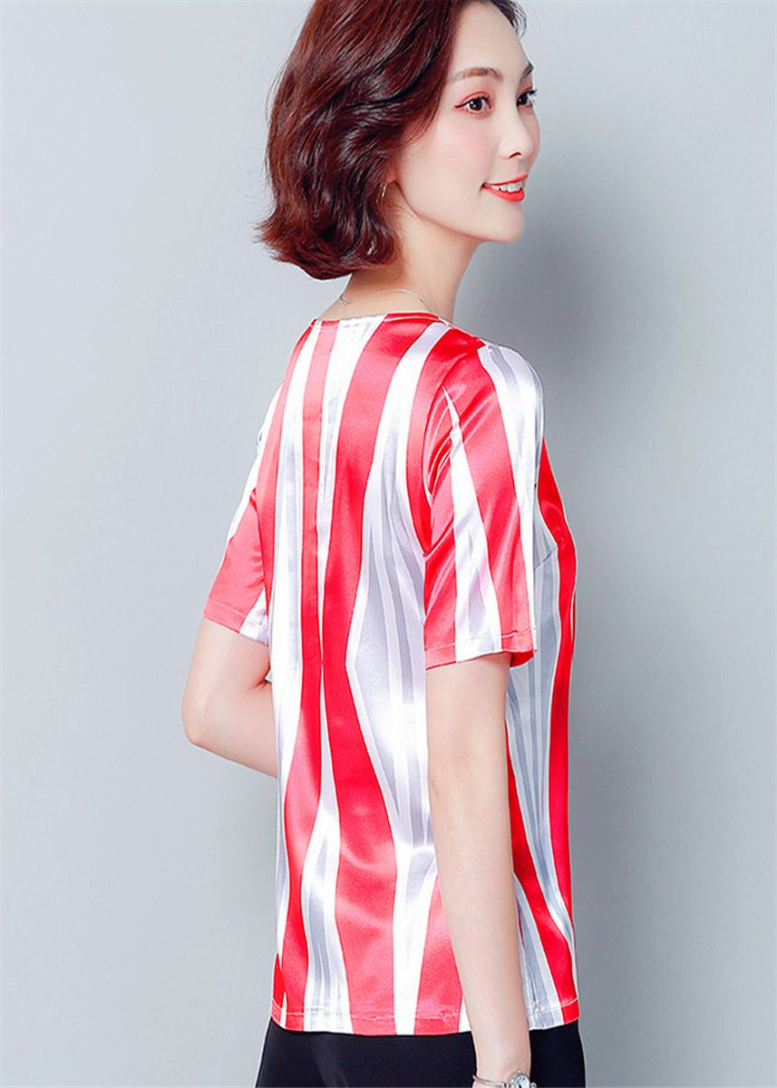 Red color Tees & Shirts . Summer Wear The New Round Collar Short Sleeve T-shirt -