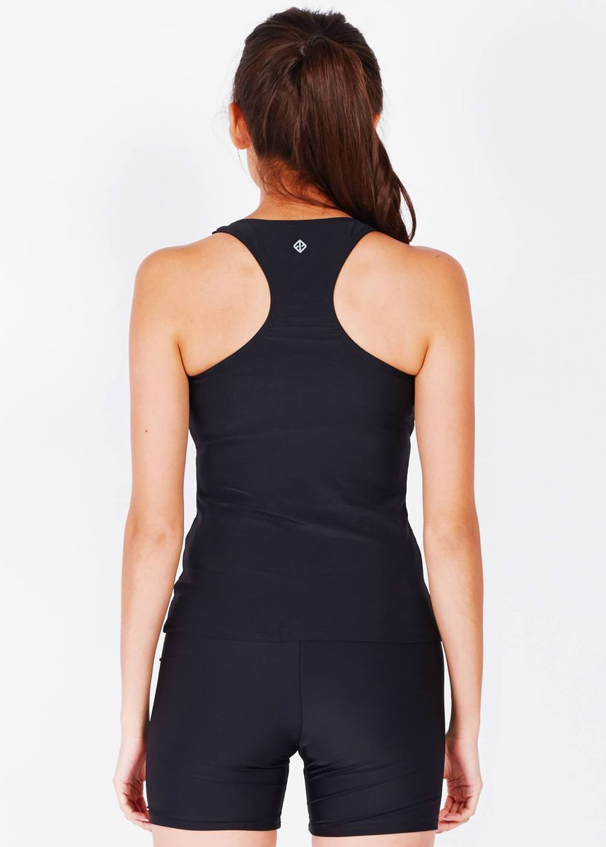 Black color Sports Wear . Performance Tankini Top In Solid Two Stripe Print -