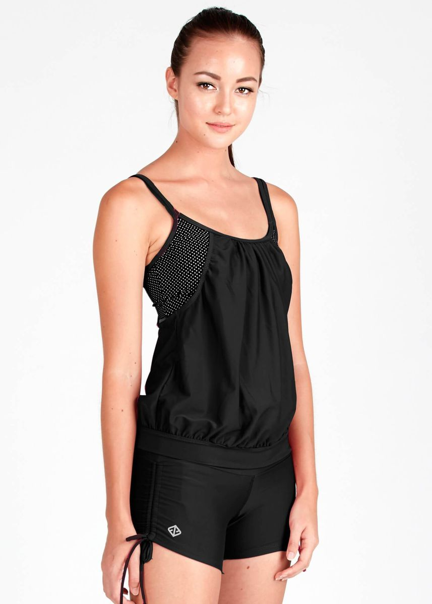 Black color Sports Wear . 2-In-1 Blouson Tankini II Top In Solid Dotted Print -