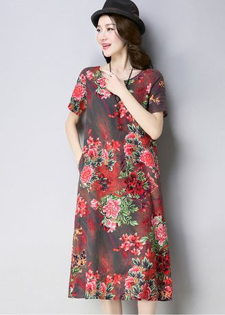 Maroon color Jump Suits . Women Casual Ethnic Floral Dress Skirts -