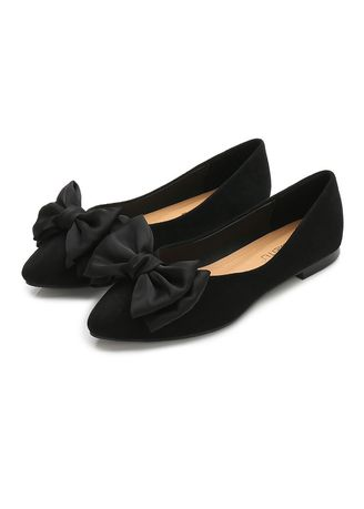 Black color Flats . Leisure  Pointed Flat Shoes -