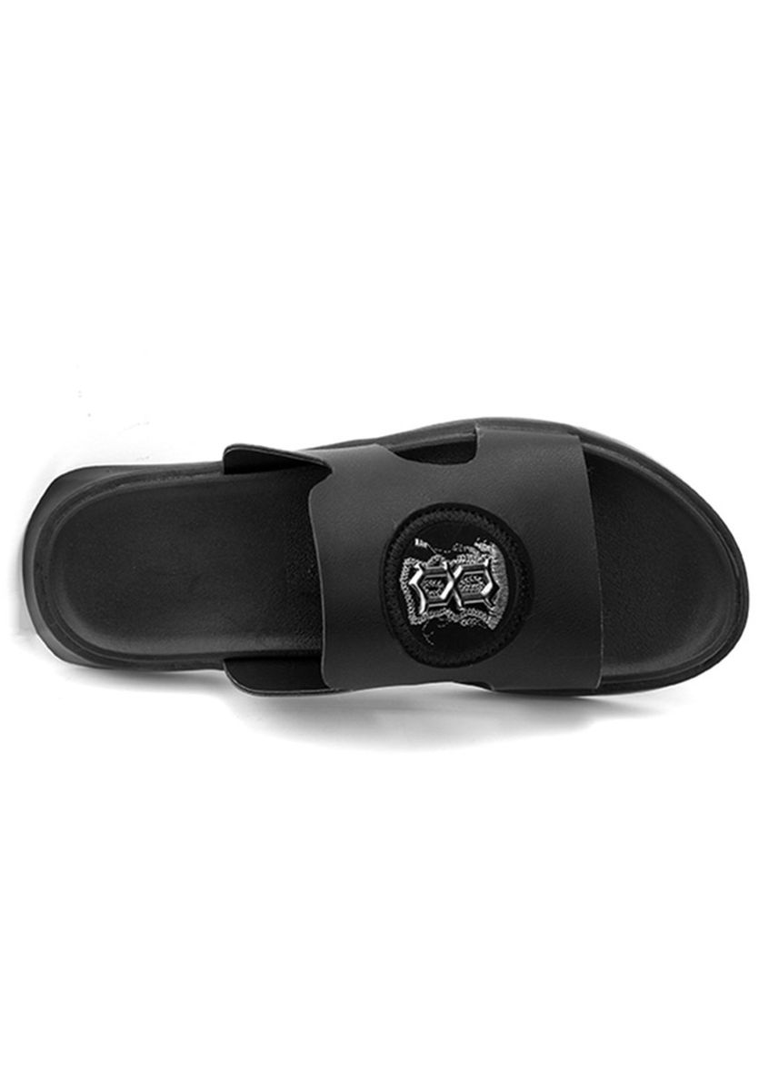Black color Sandals and Slippers . Men's Personality Beach Slide Sandals -