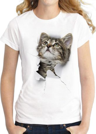 White color Tees & Shirts . Women's Casual Cotton Kitty T-Shirt -