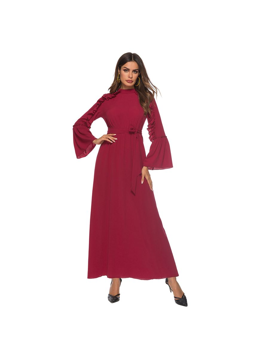 Red color Dresses . Dress Fashion Ruffled Half-high Collar Trumpet Sleeves -