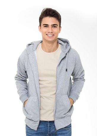 Silver color Jackets . Refill Stuff Hoodie Polos Jaket Pria - Misty Grey -