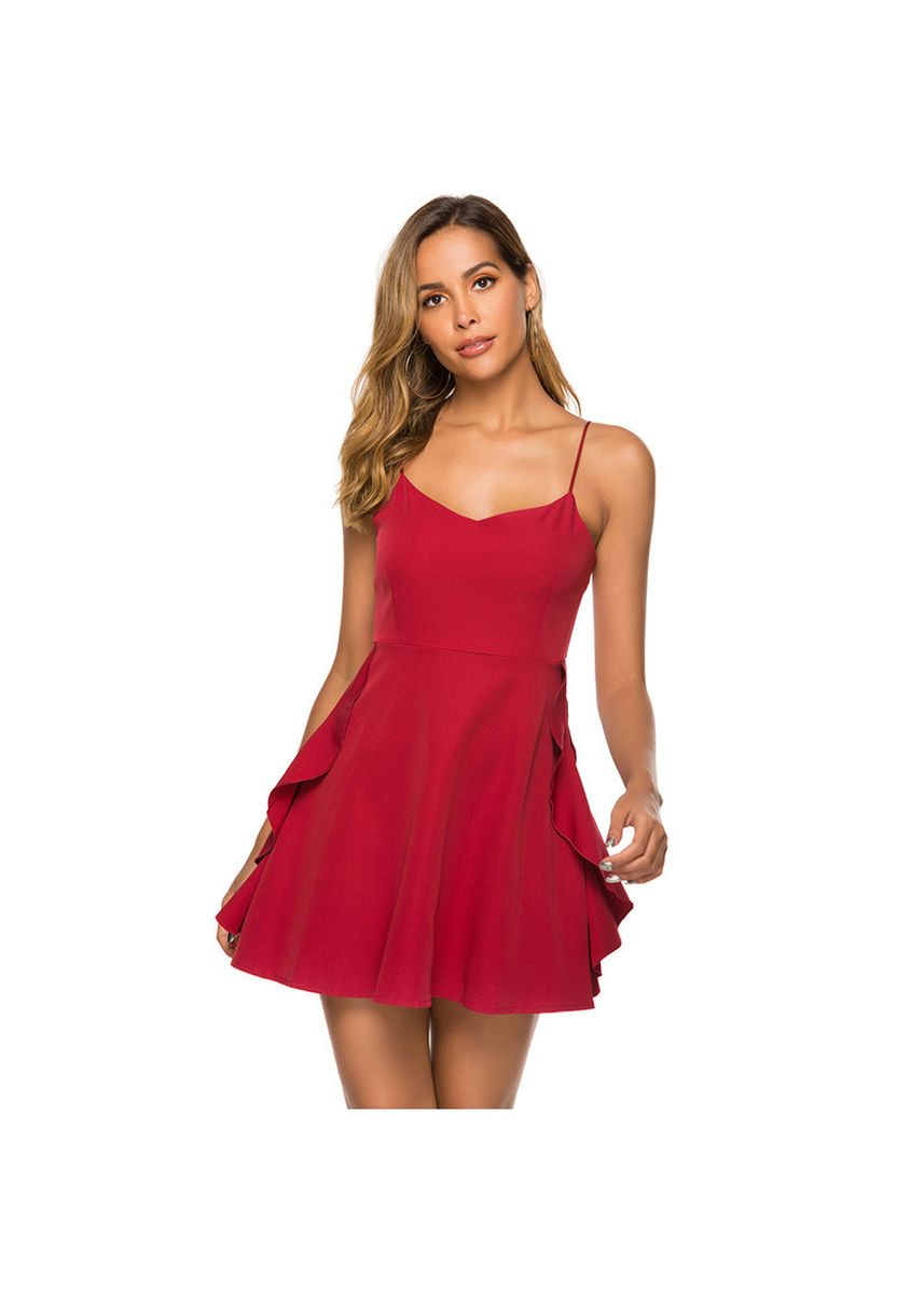 Red color Dresses . Women's V-neck Lace Stitching Sexy Strap Dress -