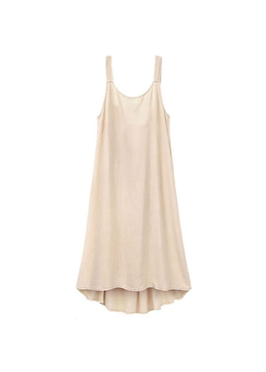 Beige color Dresses . Fashion   Women's Cotton and Linen Round Neck Pleated Casual Dress -