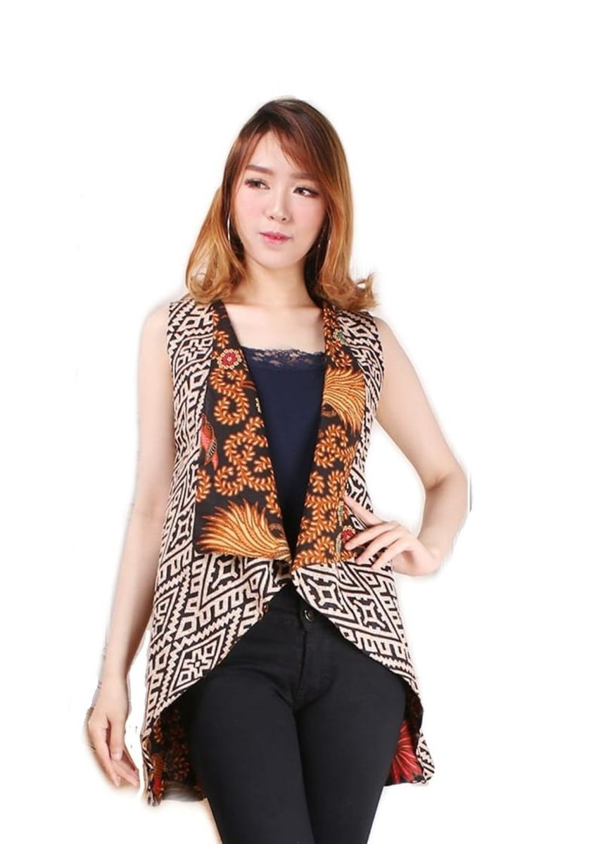 Brown color Shrugs . Celine Fashion Atasan blouse blazer bolero batik bolak balik wanita jumbo shirt Zara -