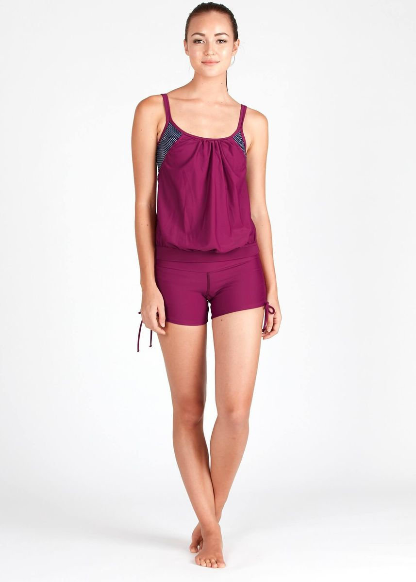 Maroon color Sports Wear . Blouson Tankini Top In Dotted Print -