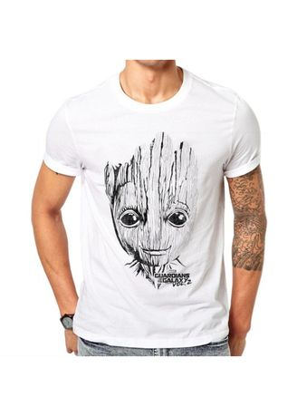 White color T-Shirts and Polos . Cotton Tree Grut Printed Men's T-Shirt -