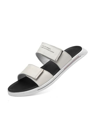 White Color Leather Slippers For Men