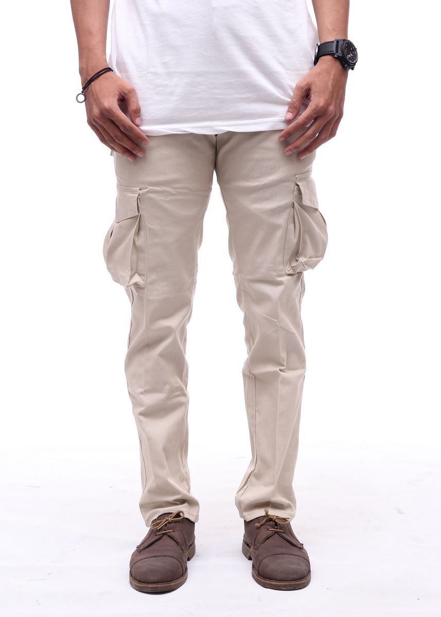 Beige color Casual Trousers and Chinos . Cora - Cargo Pants Pria -