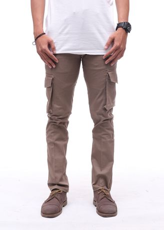 Brown color Casual Trousers and Chinos . Cora - Cargo Pants Pria -
