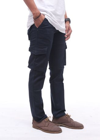Navy color Casual Trousers and Chinos . Cora - Cargo Pants Pria -