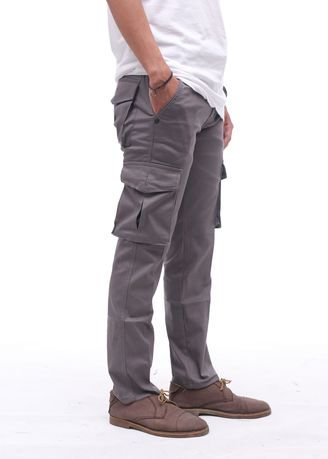 Grey color Casual Trousers and Chinos . Cora - Cargo Pants Pria -