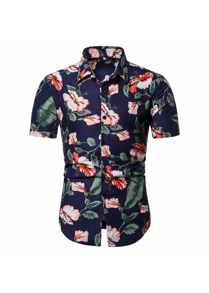Navy color Casual Shirts . Floral Classic Style Short Sleeve  Men's Shirts  -