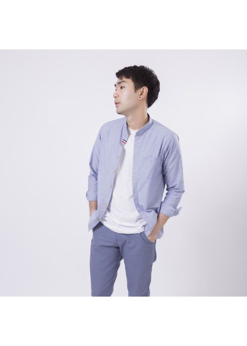 Cyan color Formal Shirts . Quattro - Chino Collar with Hidden Button -