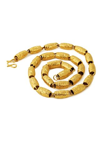 Gold color Necklaces . Thick Gold 24K Plated Beads Men's Faucet Necklace -