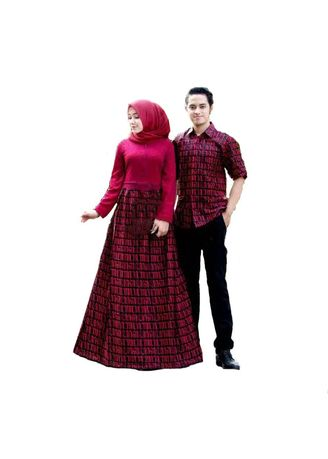 Maroon color Dresses . Batik Sarimbit Modern  - Couple Gamis Broklat Aksara 2507 -