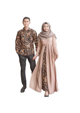 Tan color Dresses . Batik Kondangan Modern / Batik Sarimbit Modern / Batik Couple Terbaru Anami Couple -