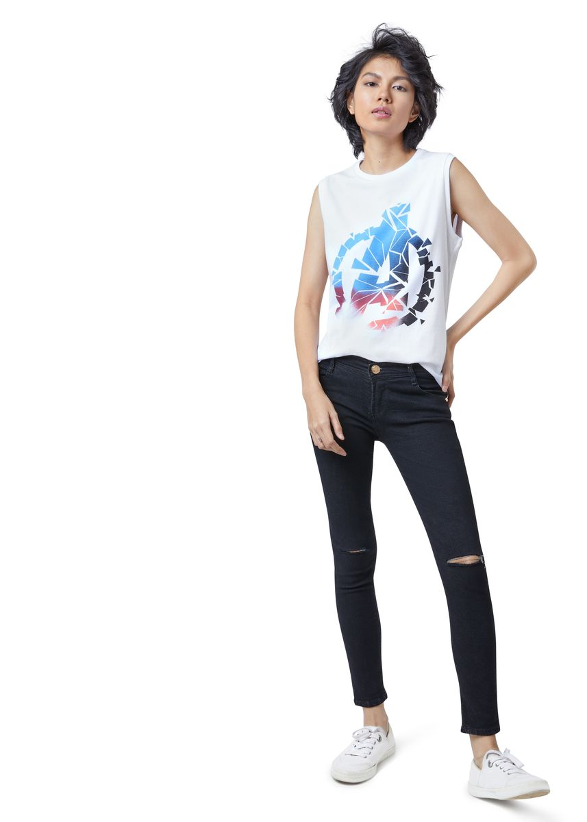 White color Tees & Shirts . Official Marvel's Avengers Shattered Logo White Tank Top -