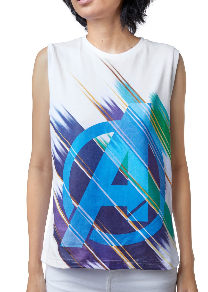 White color Tees & Shirts . Official Marvel's Avengers Multicolor Logo Tank Top -