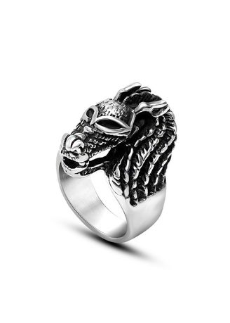 Silver color Rings . Titanium Steel Ring with Retro Tyrannical Faucet -