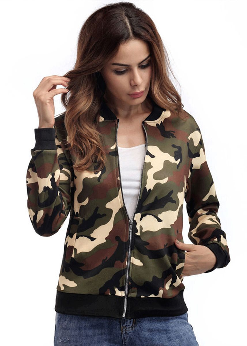 Green color Jackets . Camouflage Top Comfortable Jacket Women -