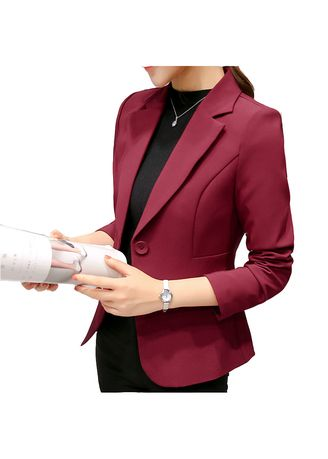 Red color Jackets . Woman OL Business Formal Blazer  -