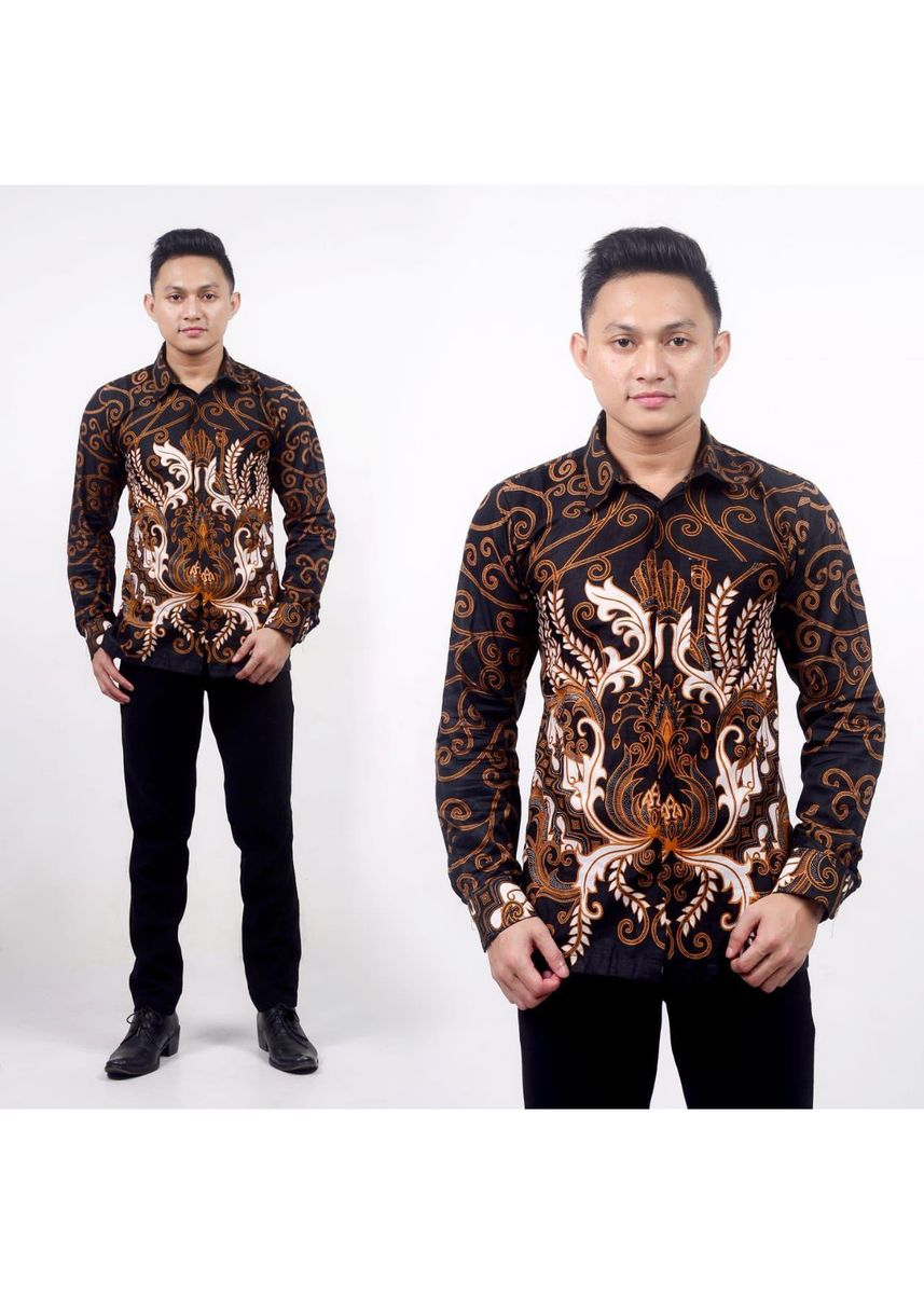 Brown color Casual Shirts . Kemeja Batik Pria Katun Handamade Pekalongan Indonesia BB53 -