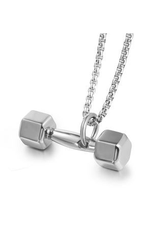 Necklaces . Fitness Dumbbell Barbell Pendant -
