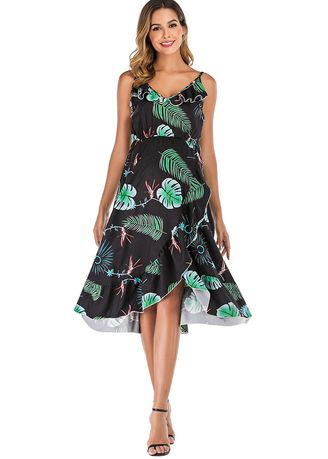 Black color Maternity Wear . Plant Printed Loose Maternity Dress -