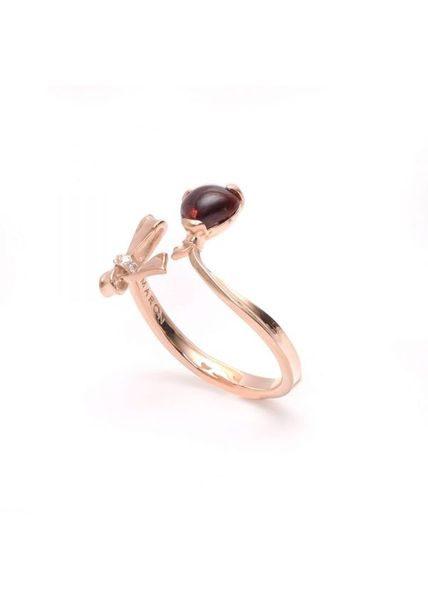 Gold color  . Maron jewelry Blow Heart Ring with Red Garnet -