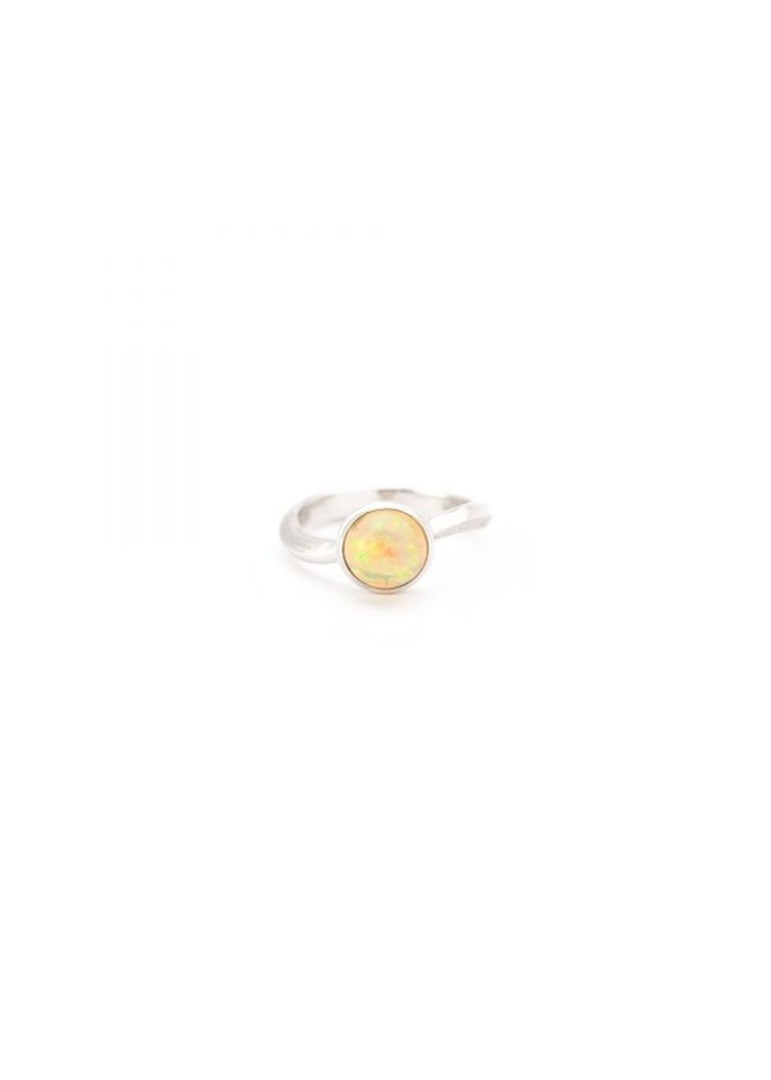 Silver color  . Maron jewelry Mirari Curve Ring with Opal -