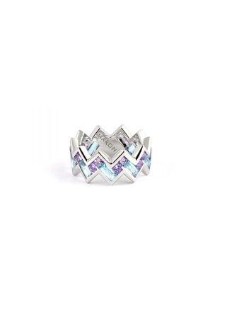 . Maron jewelry Urban Zigzag Ring with Amethyst and Blue Topaz -