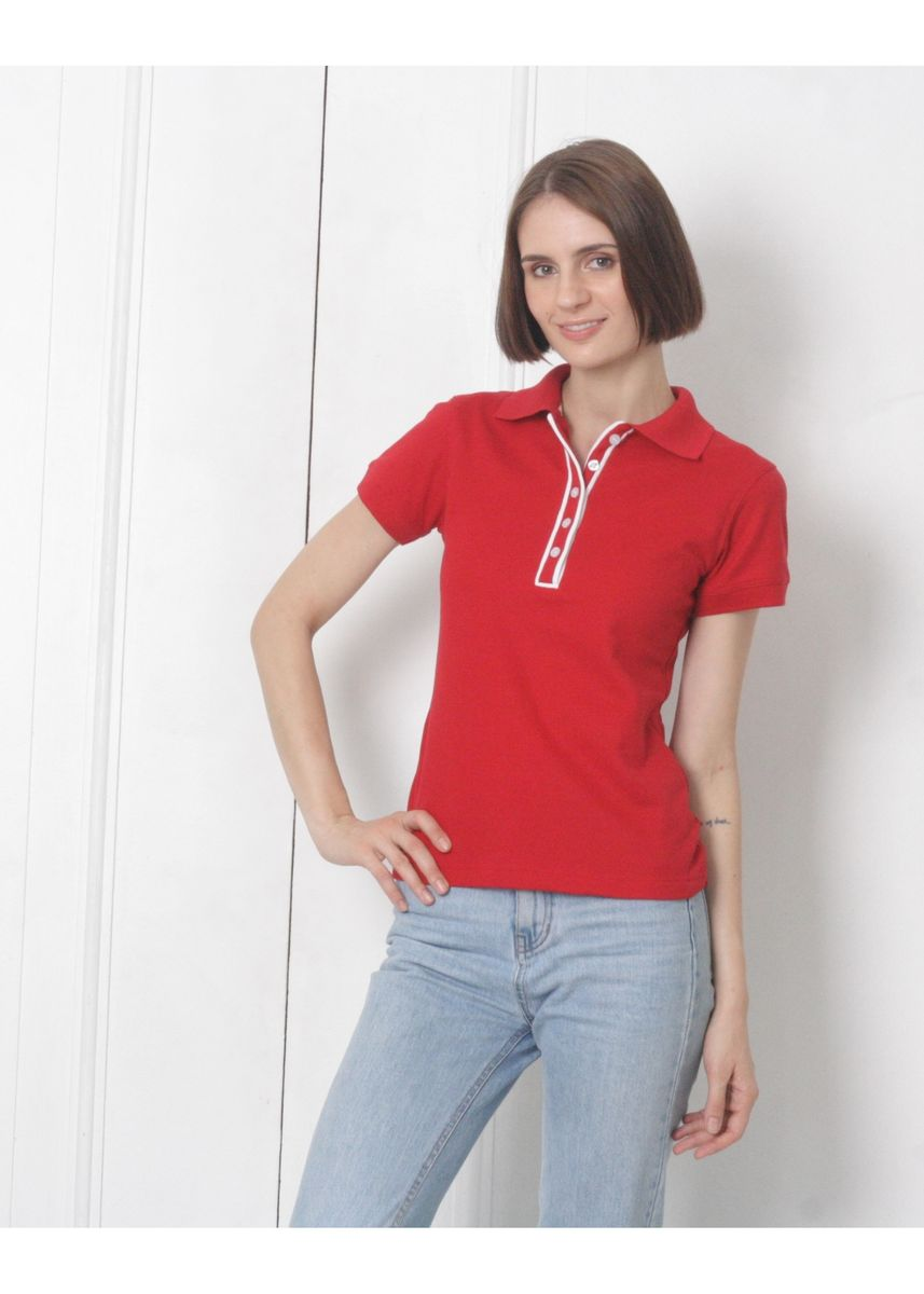 Red color Tees & Shirts . People's Pride Women's Polo T-Shirt With Placket Design -