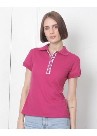 Pink color Tees & Shirts . People's Pride Women's Polo T-Shirt With Placket Design -
