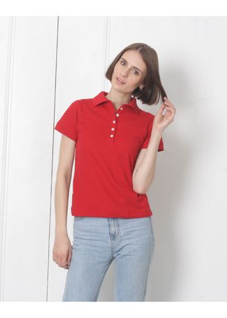Red color Tees & Shirts . Women's People's Pride Polo Shirt Plain (Red) -
