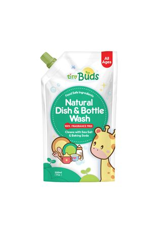 White color Others . Tiny Buds Natural Dish Wash & Baby Bottle Cleanser Fragrance Free, 500ml -
