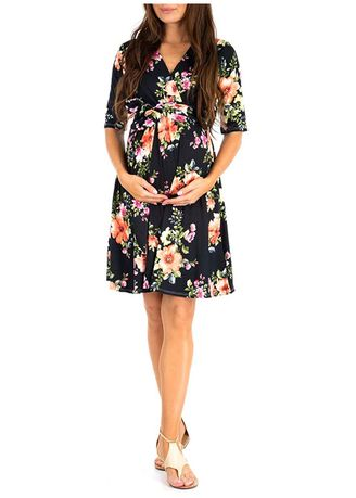 Black color Maternity Wear . Fahsion Floral Printed Maternity Dress -