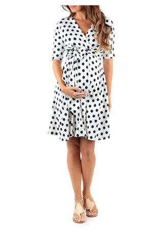 White color Maternity Wear . Dot Printed Maternity Dress -