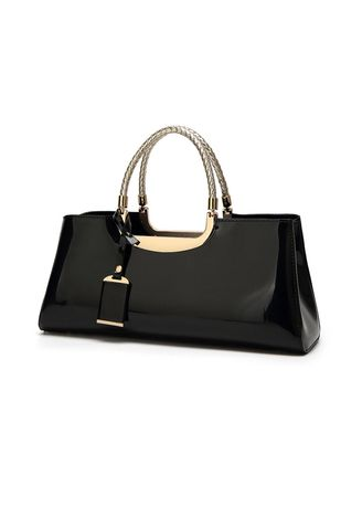 ดำ color กระเป๋าถือ . Women Patent Leather Handbag Fashion Bride Bag -