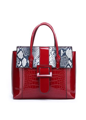 Red color Hand Bags . New European and American Mirror Serpentine Handbag -