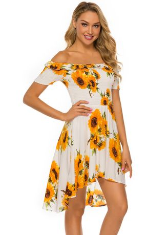 White color Dresses . Sunflowers Printed Dress -