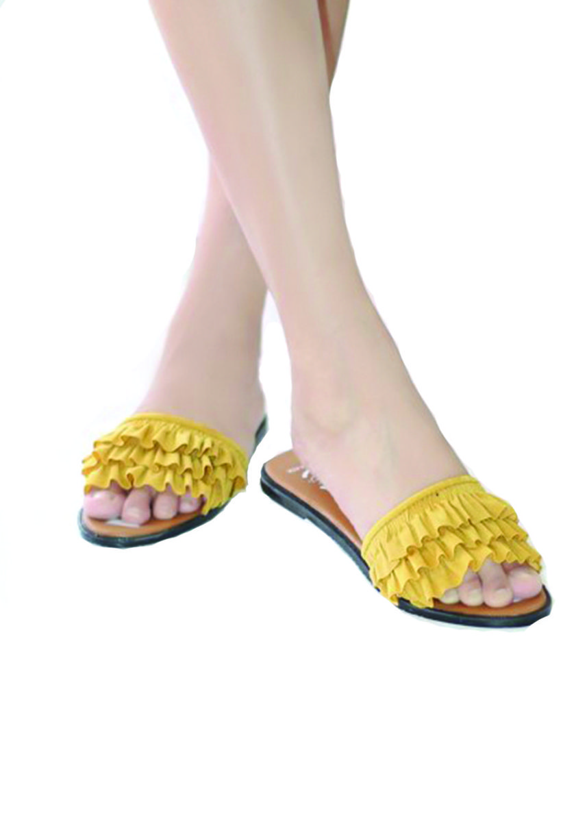 Yellow color Sandals and Slippers . NEW PRODUCT - Sandal Flat Wanita Model Rample DLF-09 -