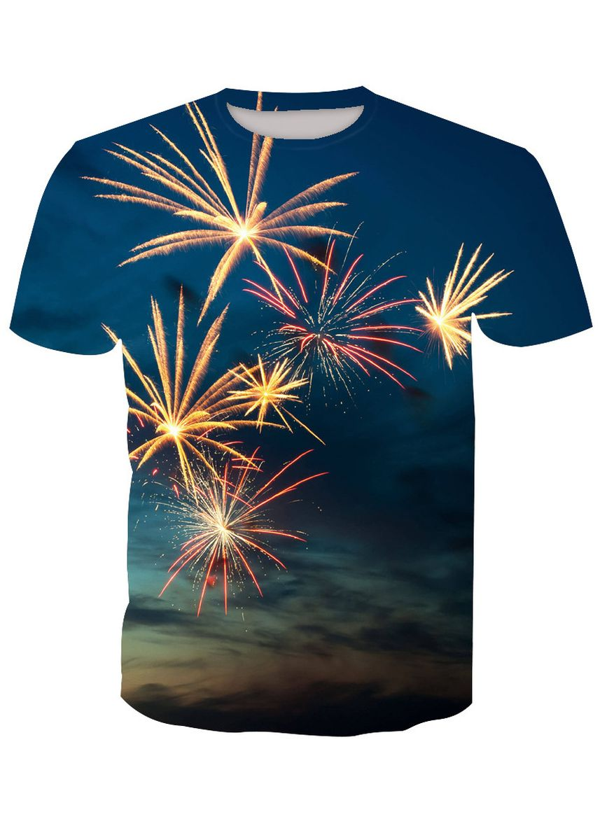 Multi color T-Shirts and Polos . Fireworks printed T-shirt -