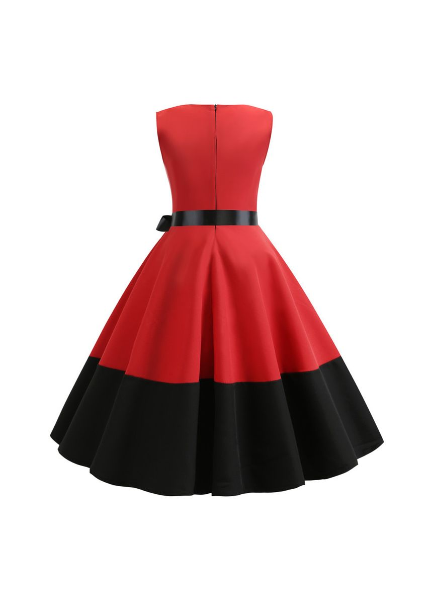 Red color Dresses . Fashionable Retro Stitching Dress -