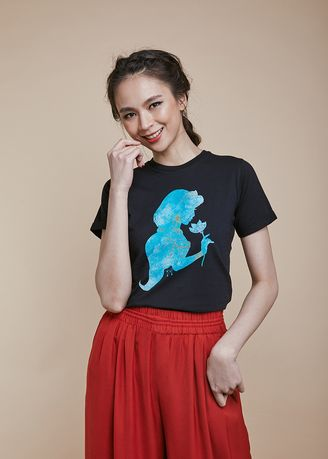 Black color Tees & Shirts . Official Jasmine Silhouette T-Shirt -