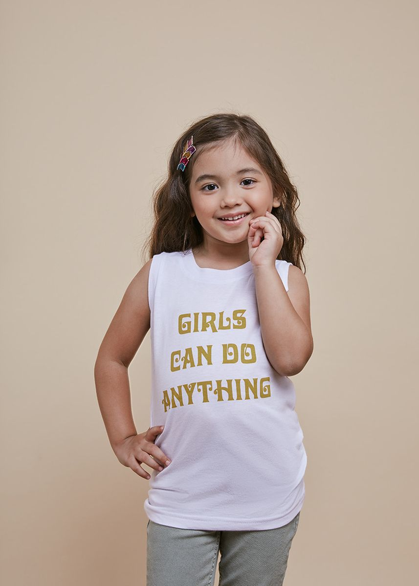 ขาว color เสื้อ . Official Girl Power White Tank Top -